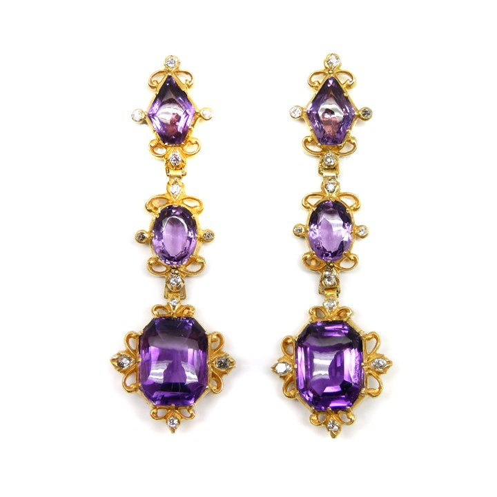 Pair of 19th century amethyst, diamond and gold pendant earrings