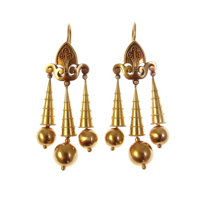 Pair of 19th century archaeological revival style gold triple drop pendant earrings | MasterArt