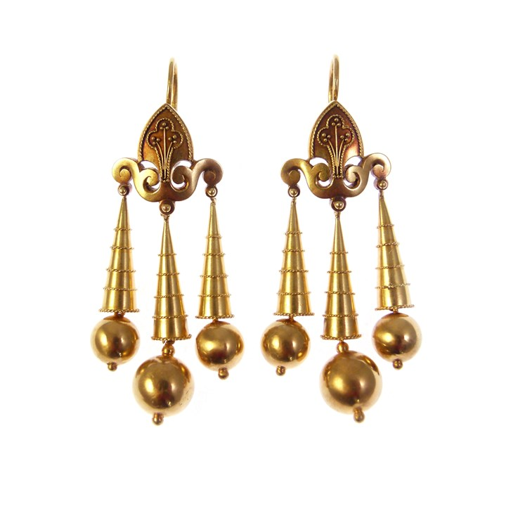 Pair of 19th century archaeological revival style gold triple drop pendant earrings