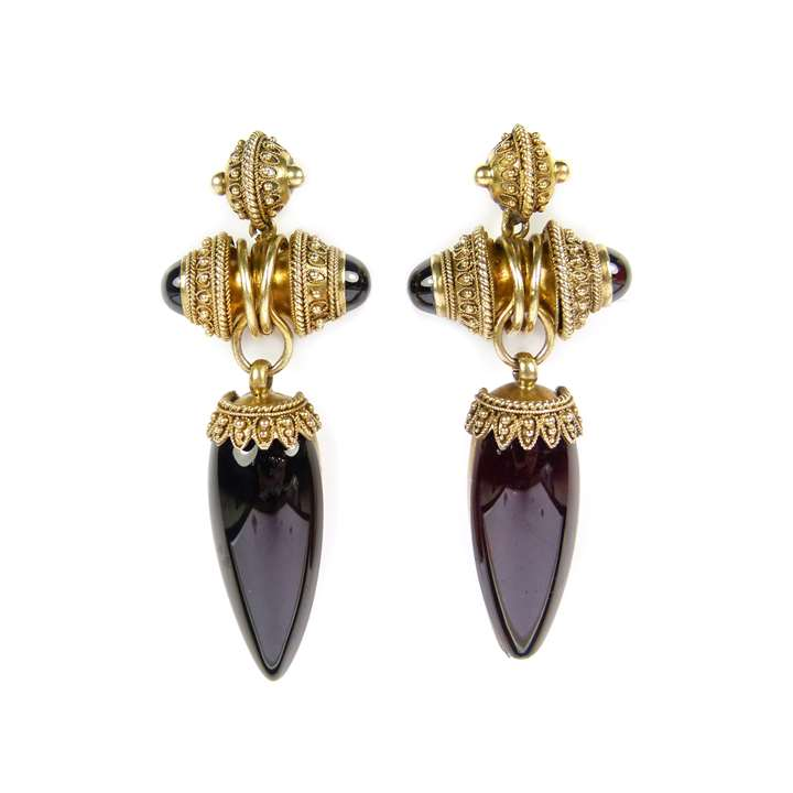 Pair of cabochon garnet and gold pendant earrings