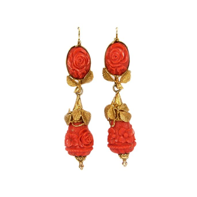 Pair of 19th century carved corallium rubrum and gold floral pendant earrings | MasterArt