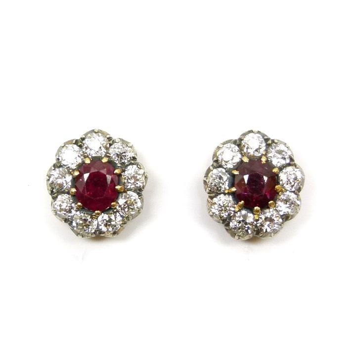 Pair of 19th century cushion cut ruby and diamond cluster stud earrings