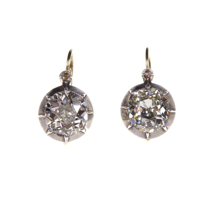 Pair of cushion diamond collet earrings