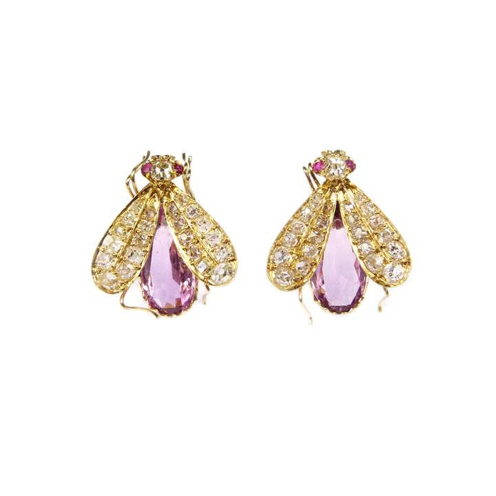 Pair of 19th century diamond and pink topaz fly earrings