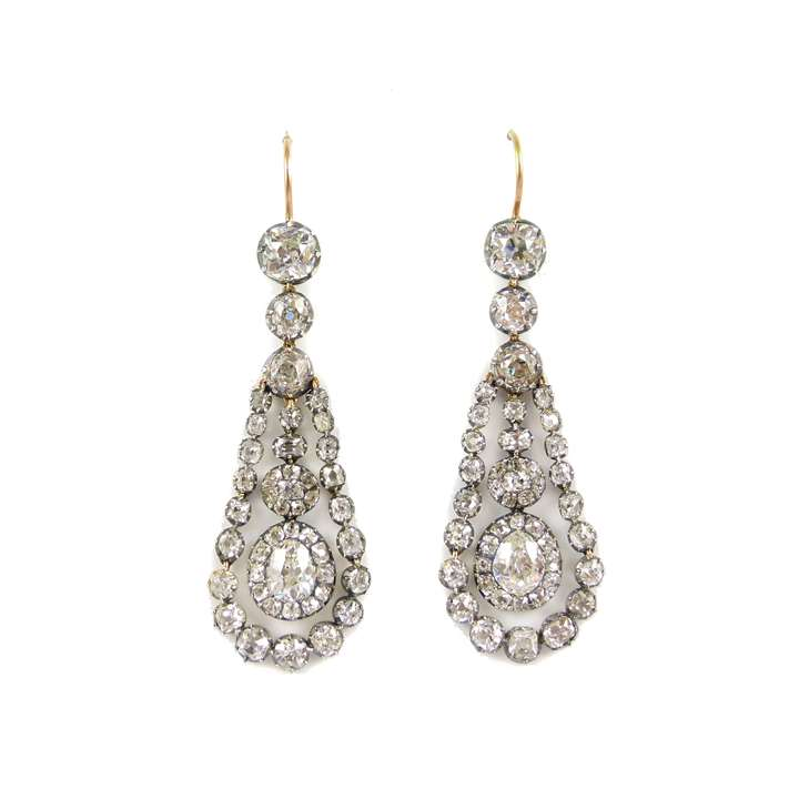 Pair of 19th century diamond drop cluster swing pendant earrings