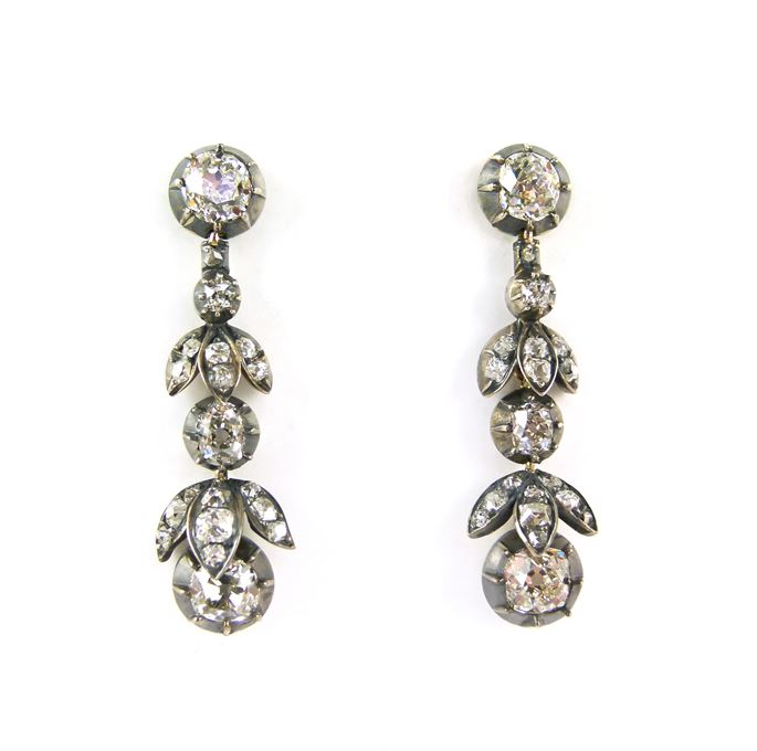 Pair of  diamond foliate drop earrings | MasterArt