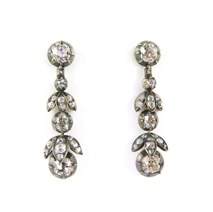 Pair of  diamond foliate drop earrings