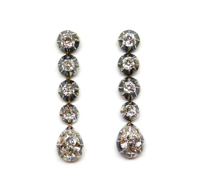 Pair of 19th century drop diamond pendant earrings | MasterArt