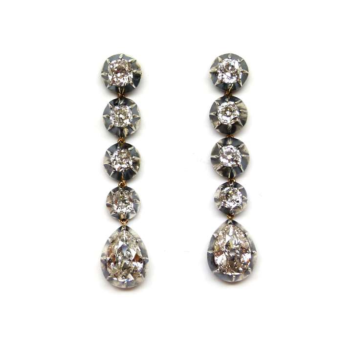 Pair of 19th century drop diamond pendant earrings