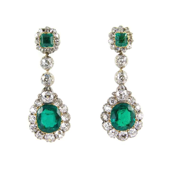 Pair of 19th century emerald and diamond cluster pendant earrings
