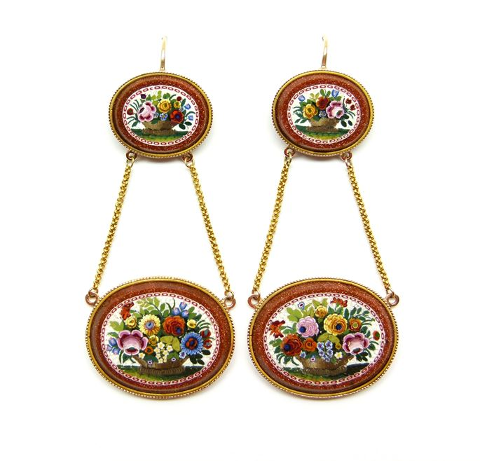 Pair of 19th century floral micromosaic and aventurine-glass pendant earrings | MasterArt