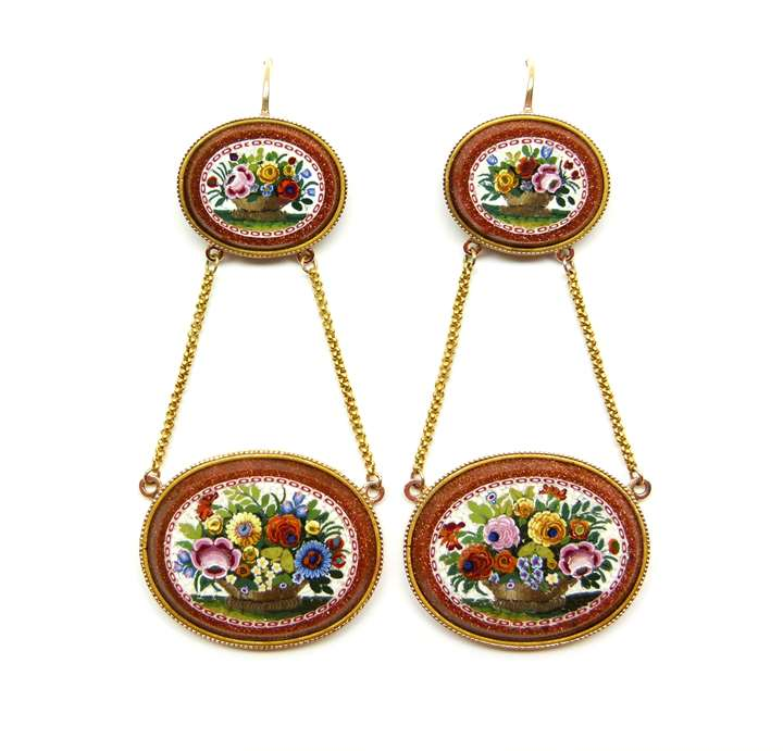 Pair of 19th century floral micromosaic and aventurine-glass pendant earrings