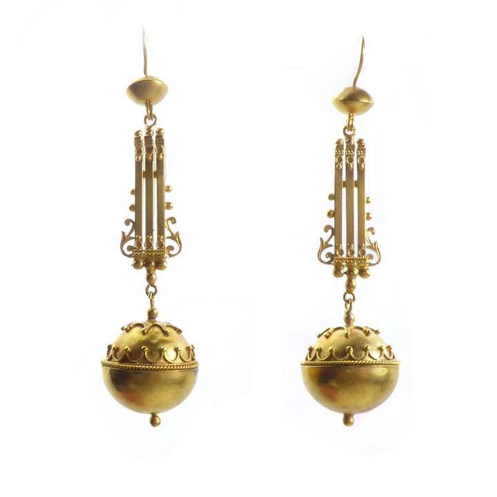 Pair of 19th century gold ball pendant earrings