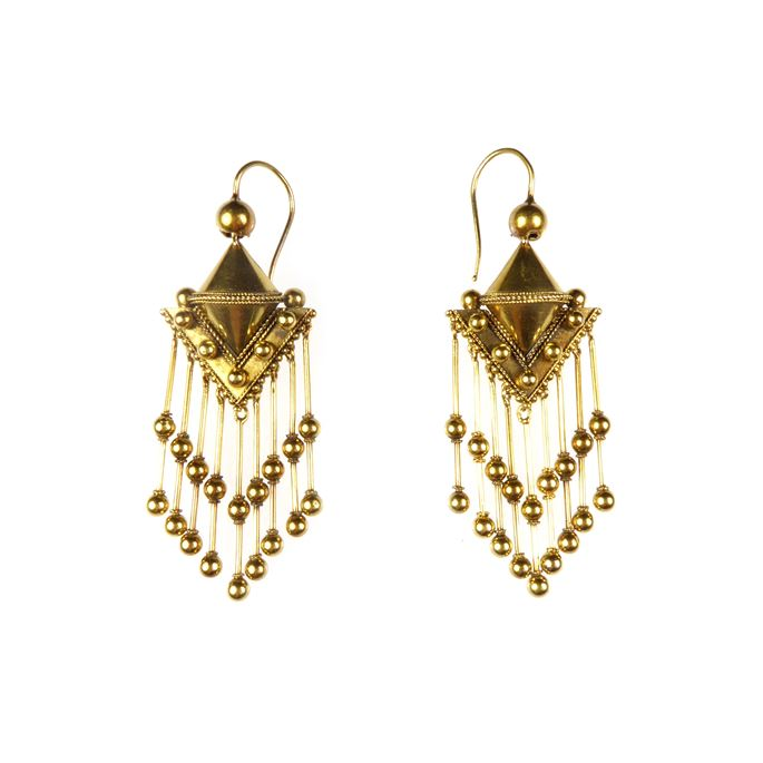 Pair of 19th century gold beaded fringe pendant earrings | MasterArt