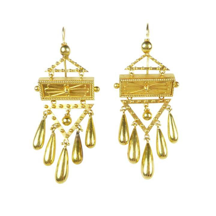 Pair of  gold fringe drop pendant earrings