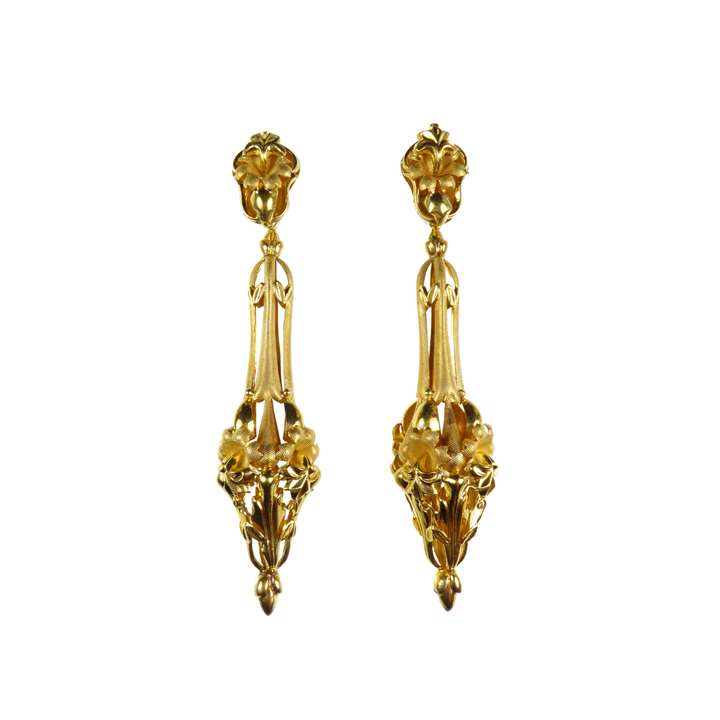 Pair of 19th century gold repousse floral and foliate drop pendant earrings