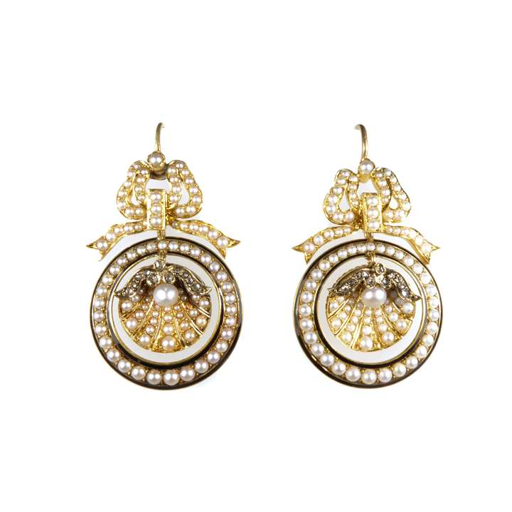 Pair of 19th century pearl, diamond and black enamel pendant shell earrings
