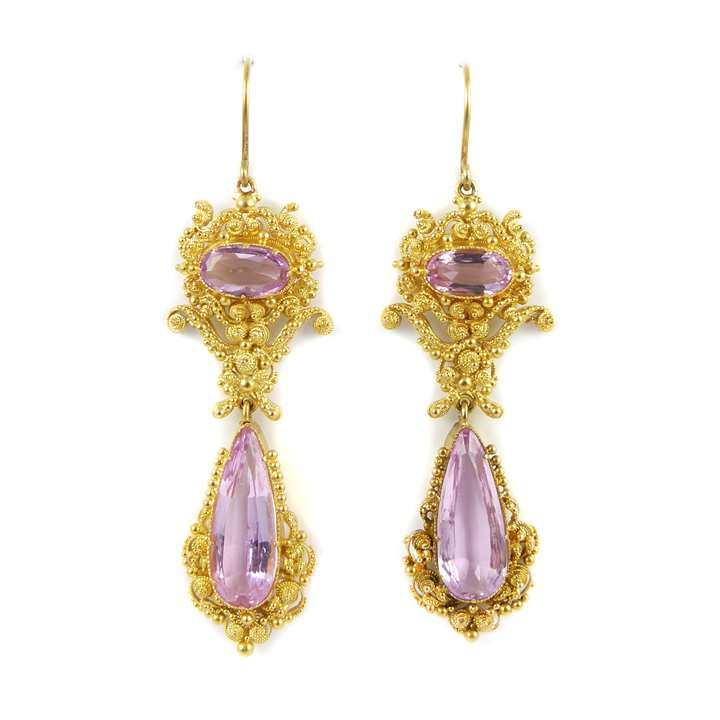 Pair of 19th century pink topaz and cannetille gold pendant earrings