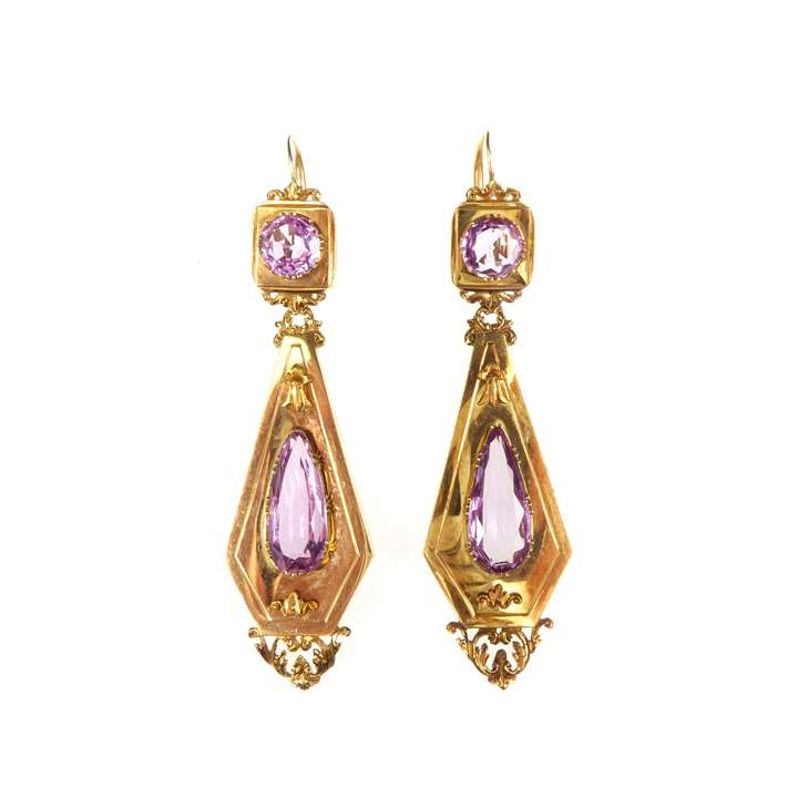 Pair of 19th century pink topaz and gold earrings