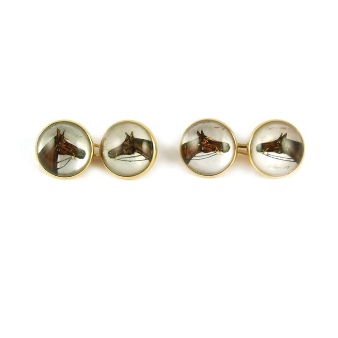 Pair of 19th century reverse painted rock crystal cufflinks with horse's head motifs | MasterArt