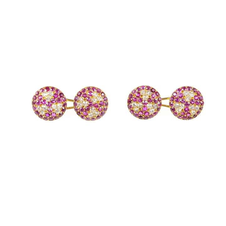 Pair of 19th century ruby and diamond cluster round cufflinks.