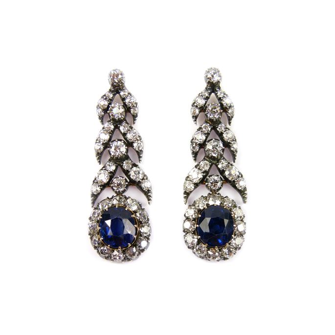 Pair of 19th century sapphire and diamond pendant earrings | MasterArt