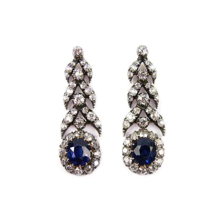 Pair of 19th century sapphire and diamond pendant earrings