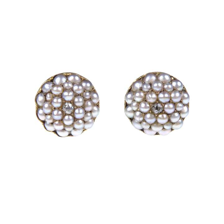 Pair of 19th century seed pearl and diamond cluster earrings
