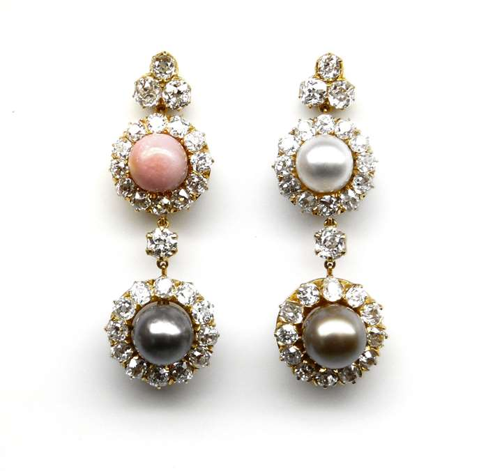 Pair of 19th century vari-coloured pearl and diamond cluster pendant earrings