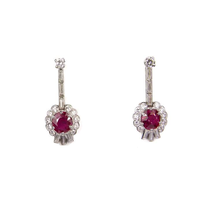 Pair of Art Deco Burma ruby and diamond cluster pendant earrings