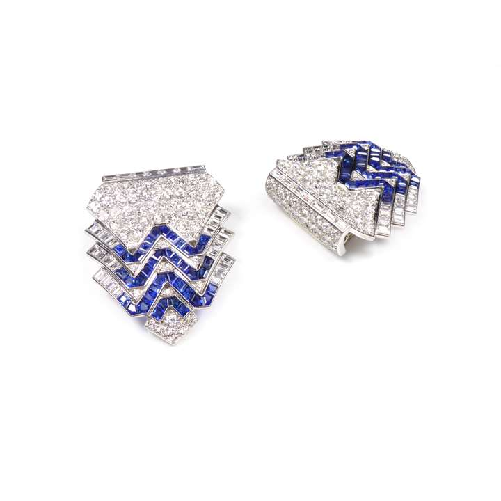 Pair of Art Deco diamond and sapphire zig-zag clip brooches