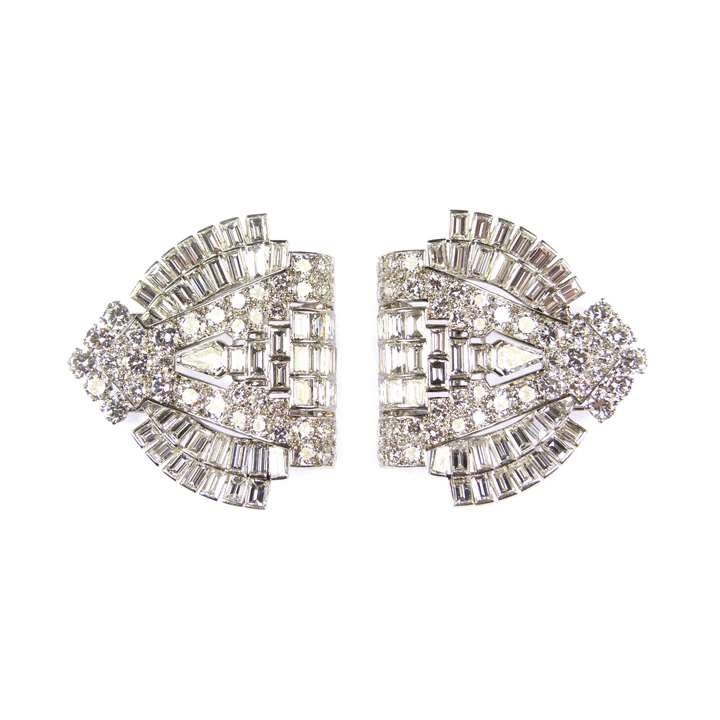 Pair of Art Deco diamond arch clip brooches