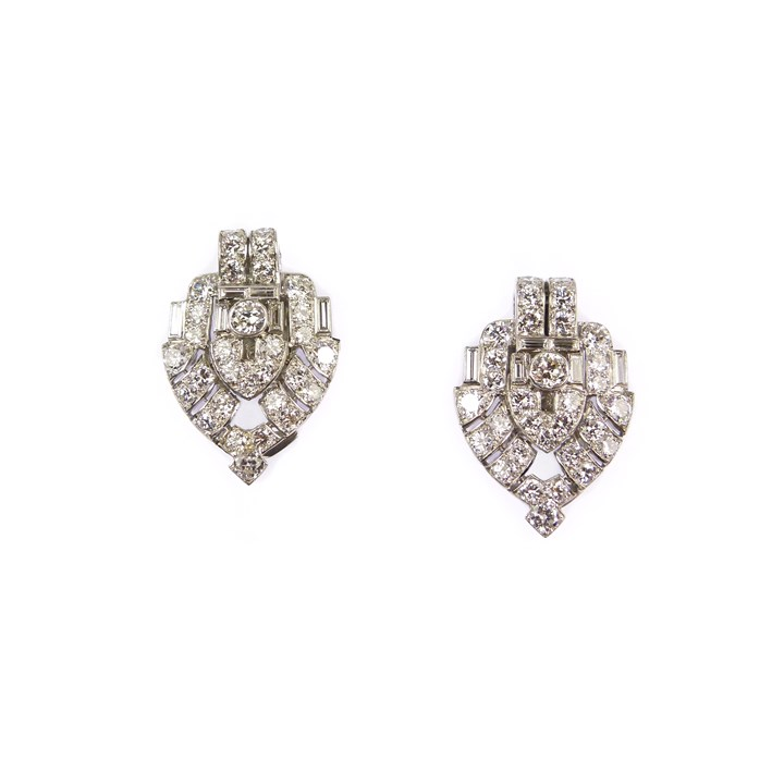 Pair of Art Deco diamond arrowhead clip brooches