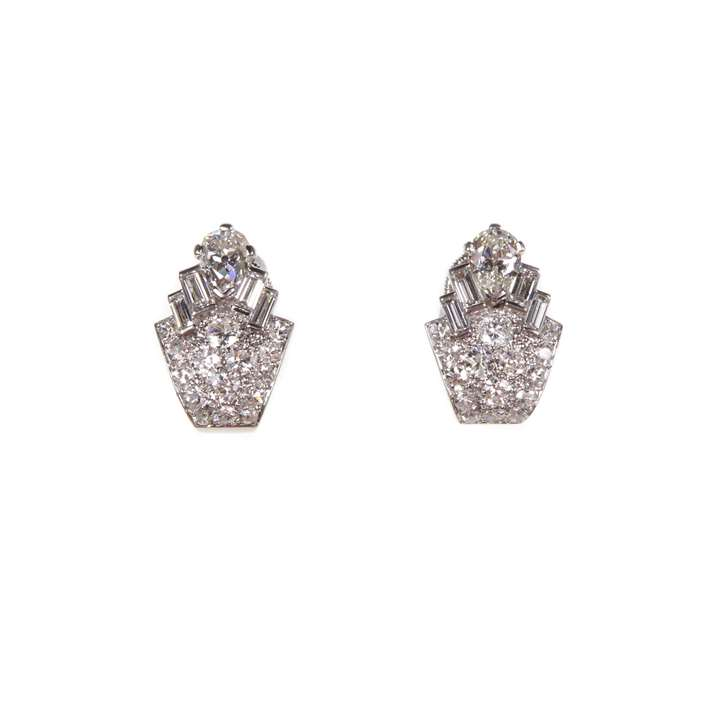 Pair of Art Deco diamond geometric cluster earrings by Cartier