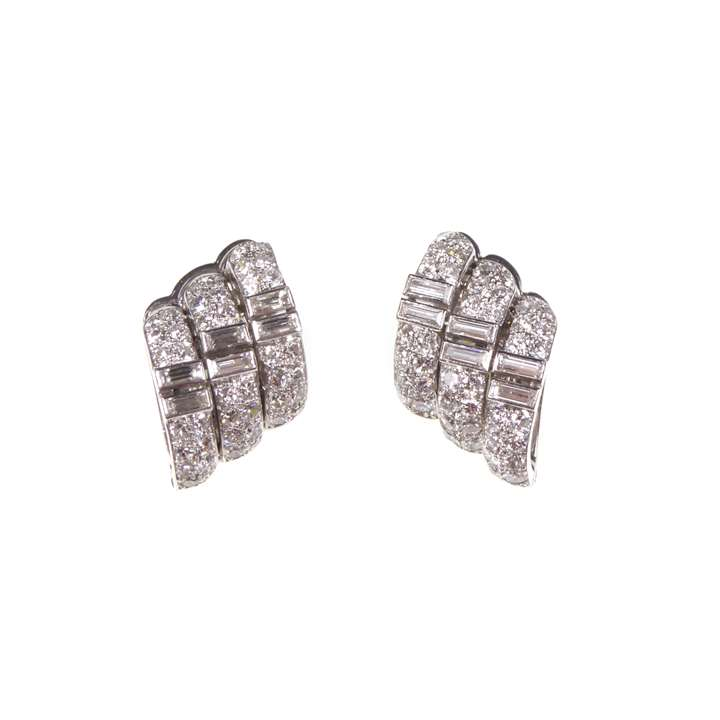 Pair of Art Deco diamond stylised wing cluster earrings by Cartier