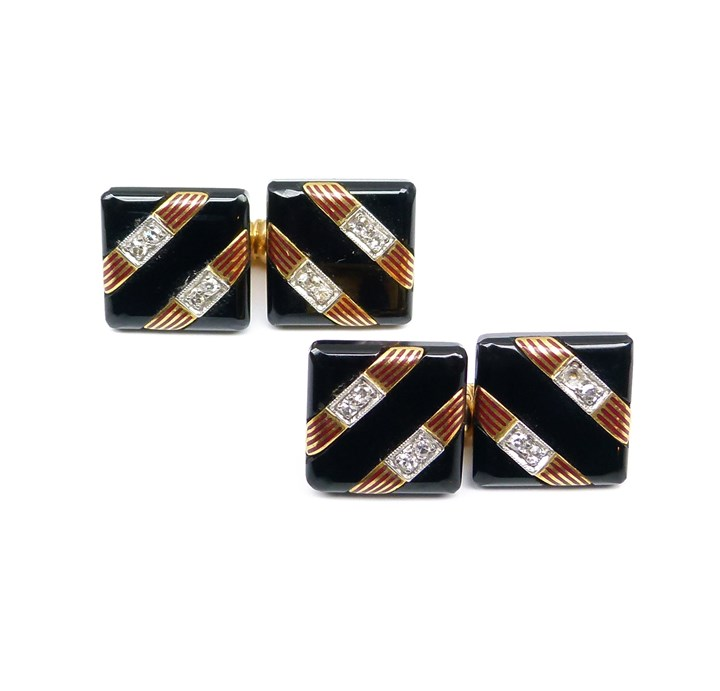 Pair of Art Deco diamond, onyx and enamel cufflinks