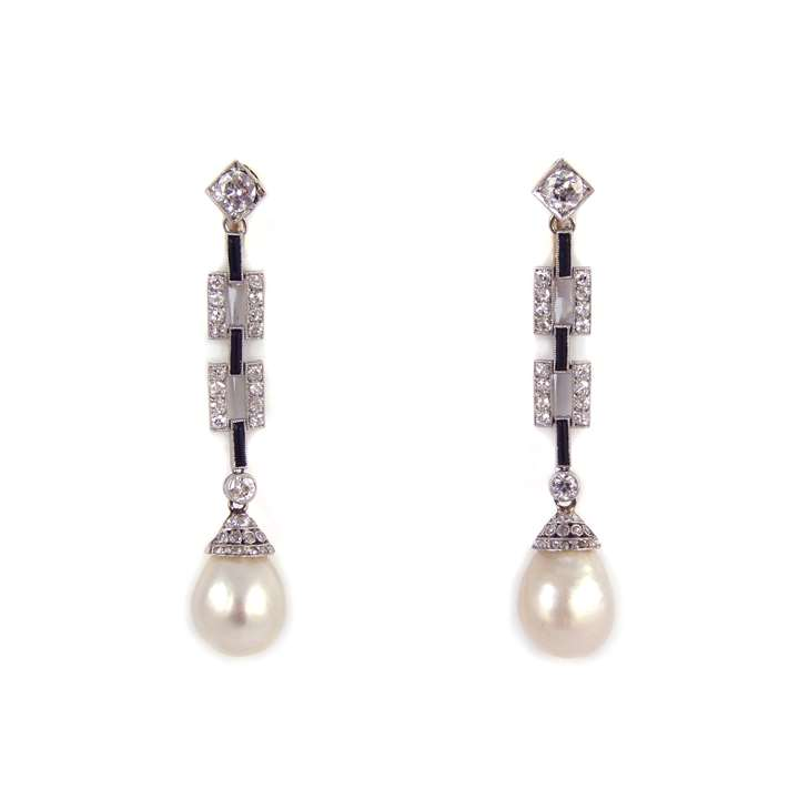 Pair of Art Deco drop pearl, diamond and onyx pendant earrings