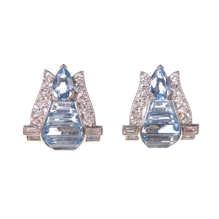 Pair of Art Deco geometric aquamarine and diamond cluster earrings