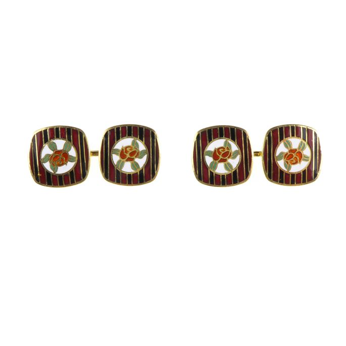 Pair of Art Deco gold and enamel cushion panel cufflinks | MasterArt