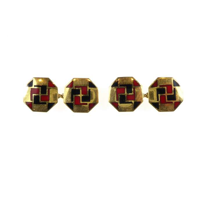 Pair of Art Deco gold and enamel octagonal cufflinks