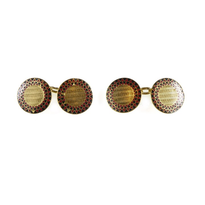 Pair of Art Deco gold, enamel and engine-turned circular panel cufflinks