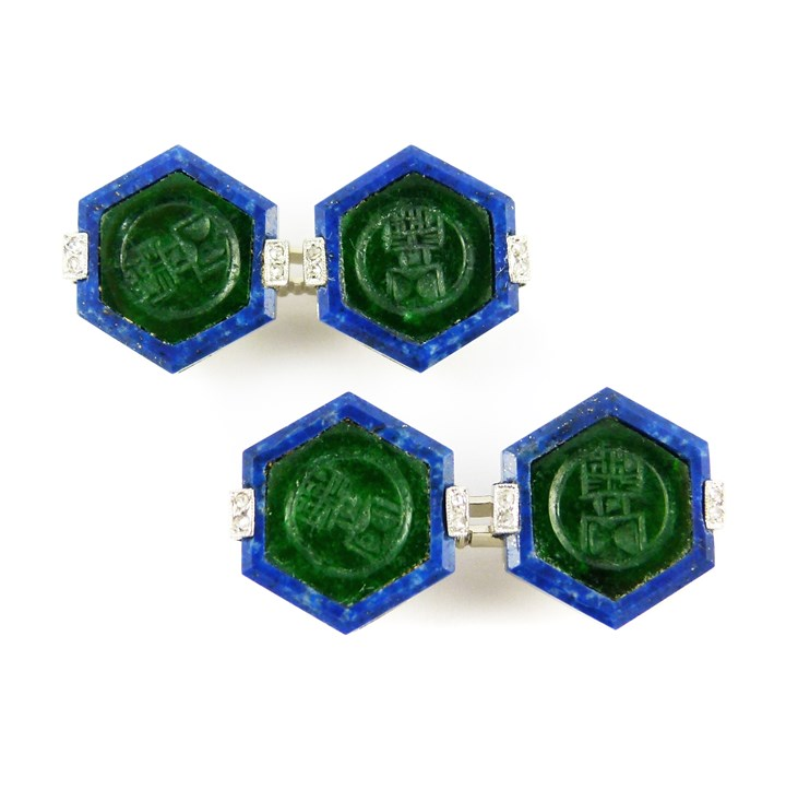 Pair of Art Deco nephrite and lapis lazuli octagonal panel cufflinks