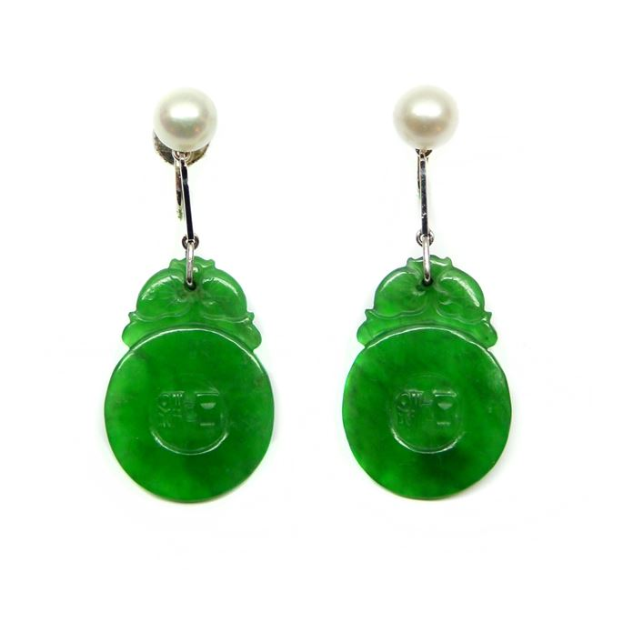 Pair of Art Deco pearl and Chinese carved jade panel pendant earrings | MasterArt