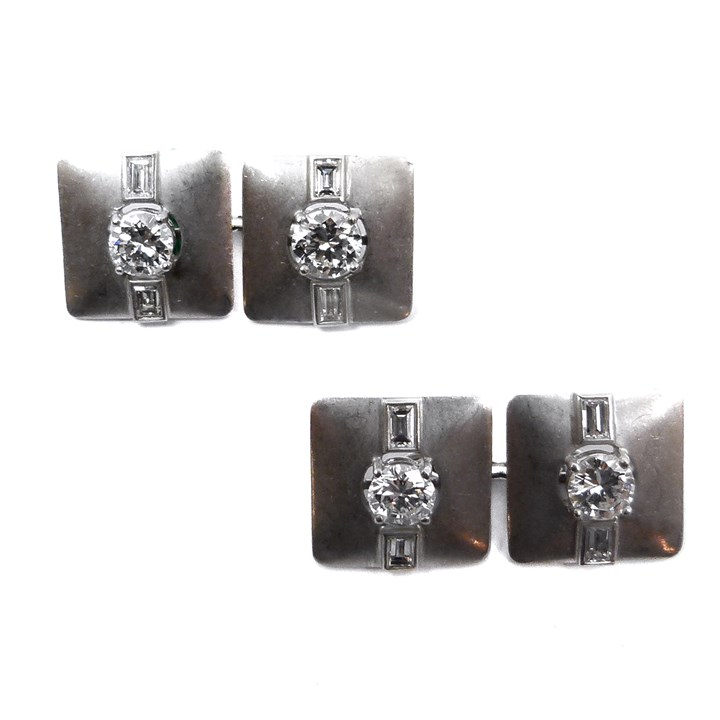 Pair of Art Deco platinum and diamond square panel cufflinks
