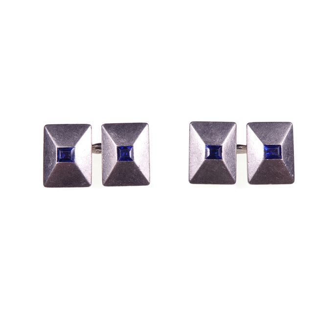 Cartier - Pair of Art Deco platinum and sapphire rectangular panel cufflinks  of low pyramid form | MasterArt