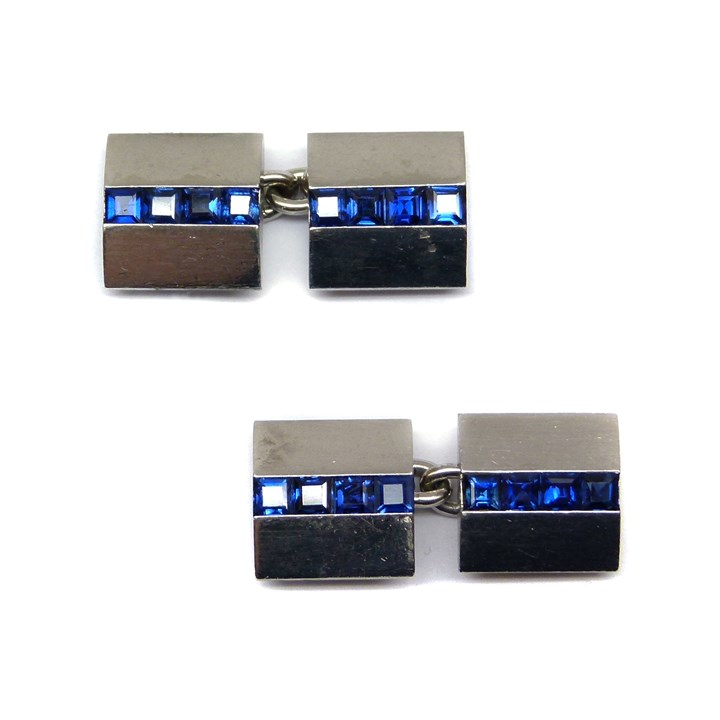 Pair of Art Deco platinum and sapphire square cufflinks