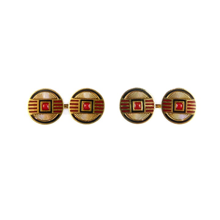 Pair of Art Deco red and black enamelled gold panel cufflinks