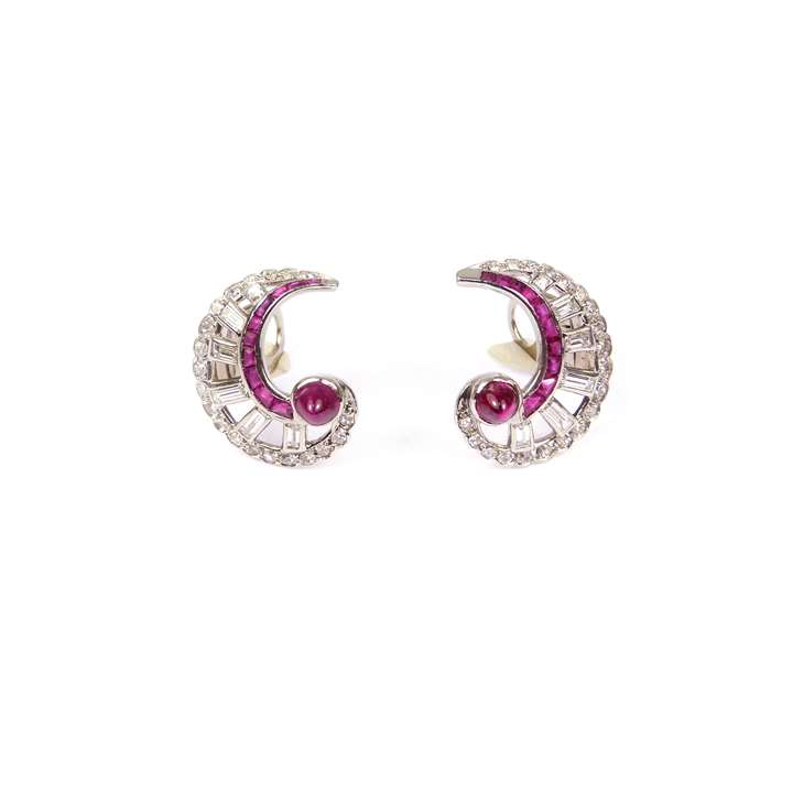 Pair of Art Deco ruby and diamond C scroll cluster earrings