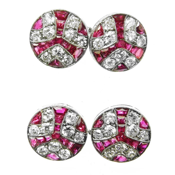 Pair of Art Deco ruby and diamond circular cufflinks