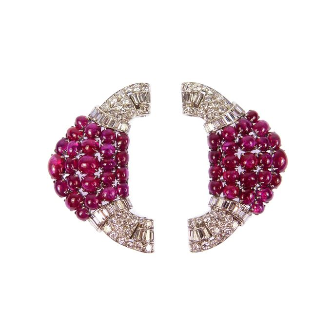 Pair of Art Deco ruby and diamond cluster double clip brooches | MasterArt